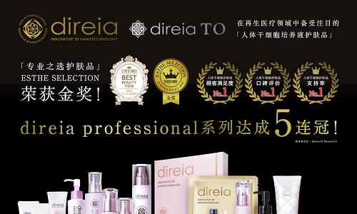 专业之选,Direia品牌蝉联ESTHETIC WIRED最受欢迎五连冠